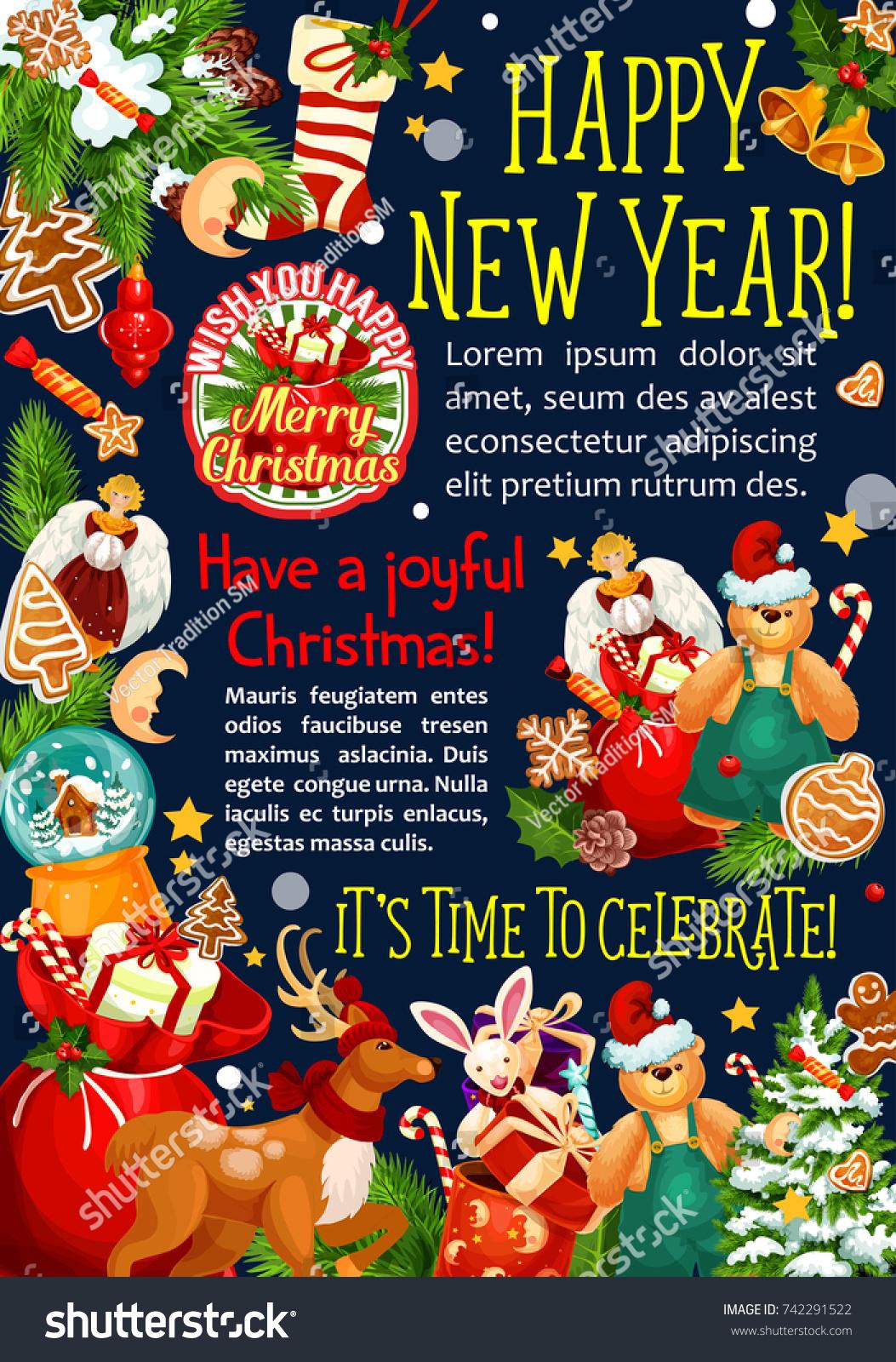 Happy New Year Christmas Season Greetings Stock Vector 742291522