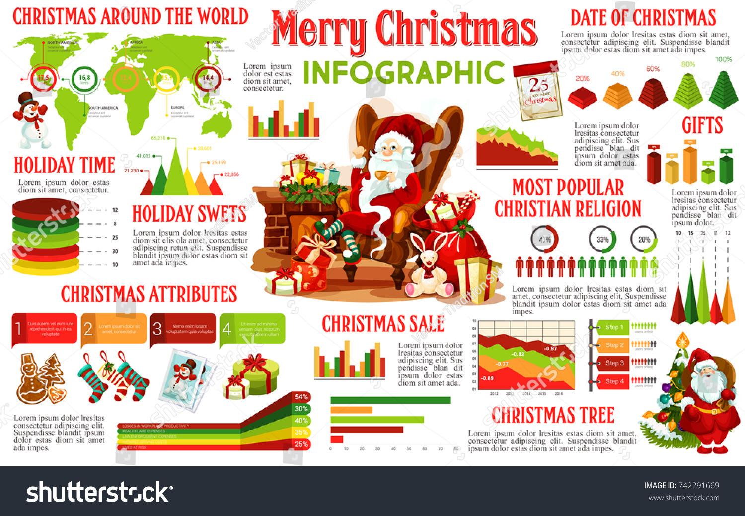 Christmas Infographic Holiday Celebration Traditions Graph Stock Tree Diagram Of And Chart Xmas Gift