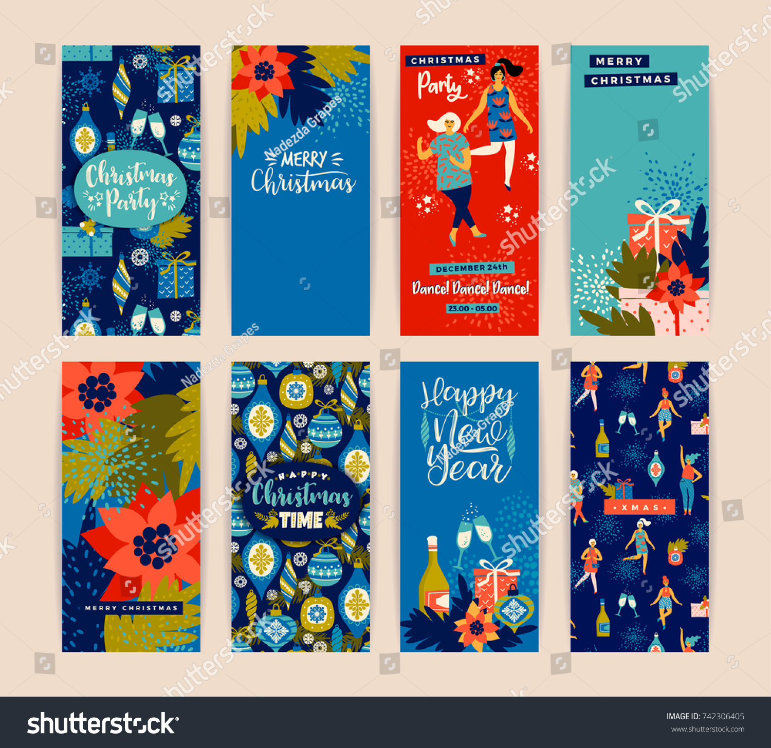 Christmas Cards Dancing Women New Years Stock Vector (Royalty Free ...