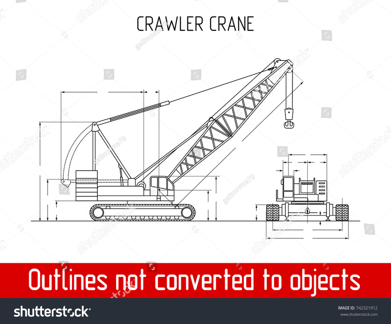 Typical Crawler Crane Overall Dimensions Blueprint Stock Vector ...
