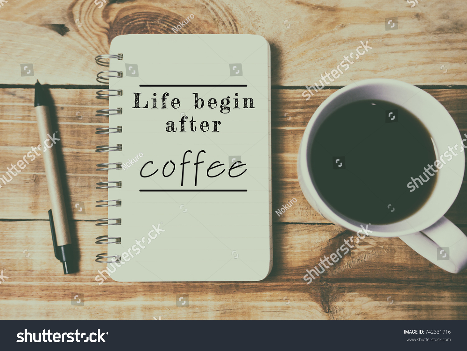 Wonderful Coffee Culture Inspirational Quotes   Life Begin After Coffee. Retro Style  Background.