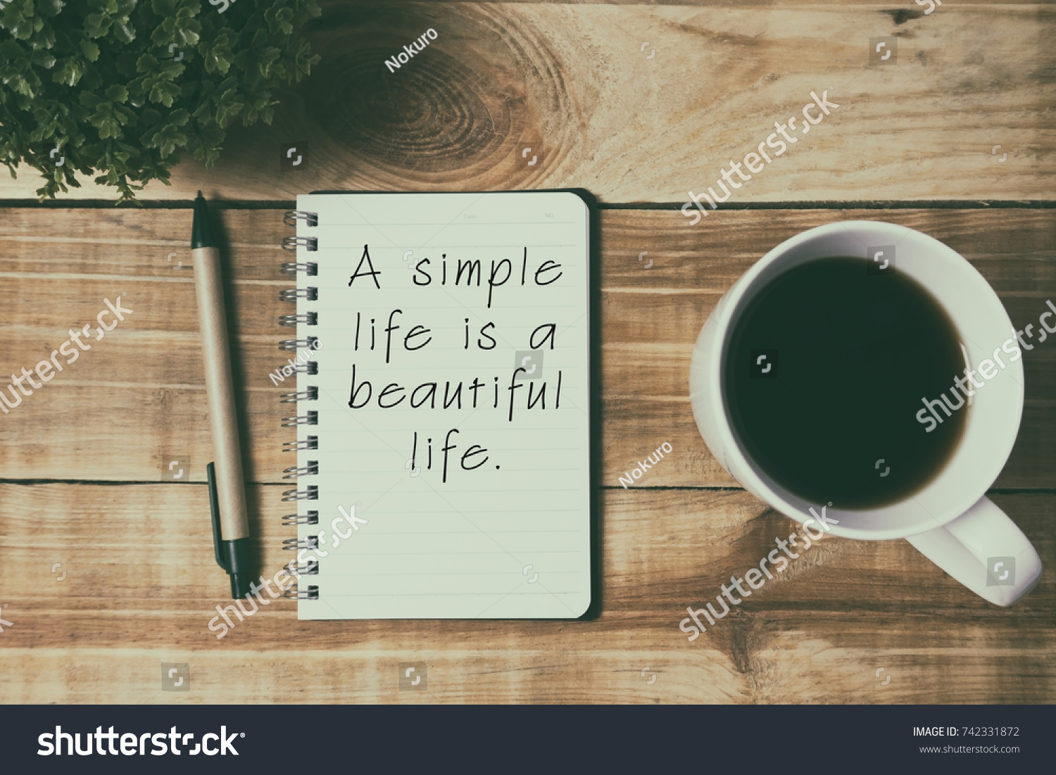 Life Inspirational Quotes   A Simple Life Is A Beautiful Life. Retro Style  Background.