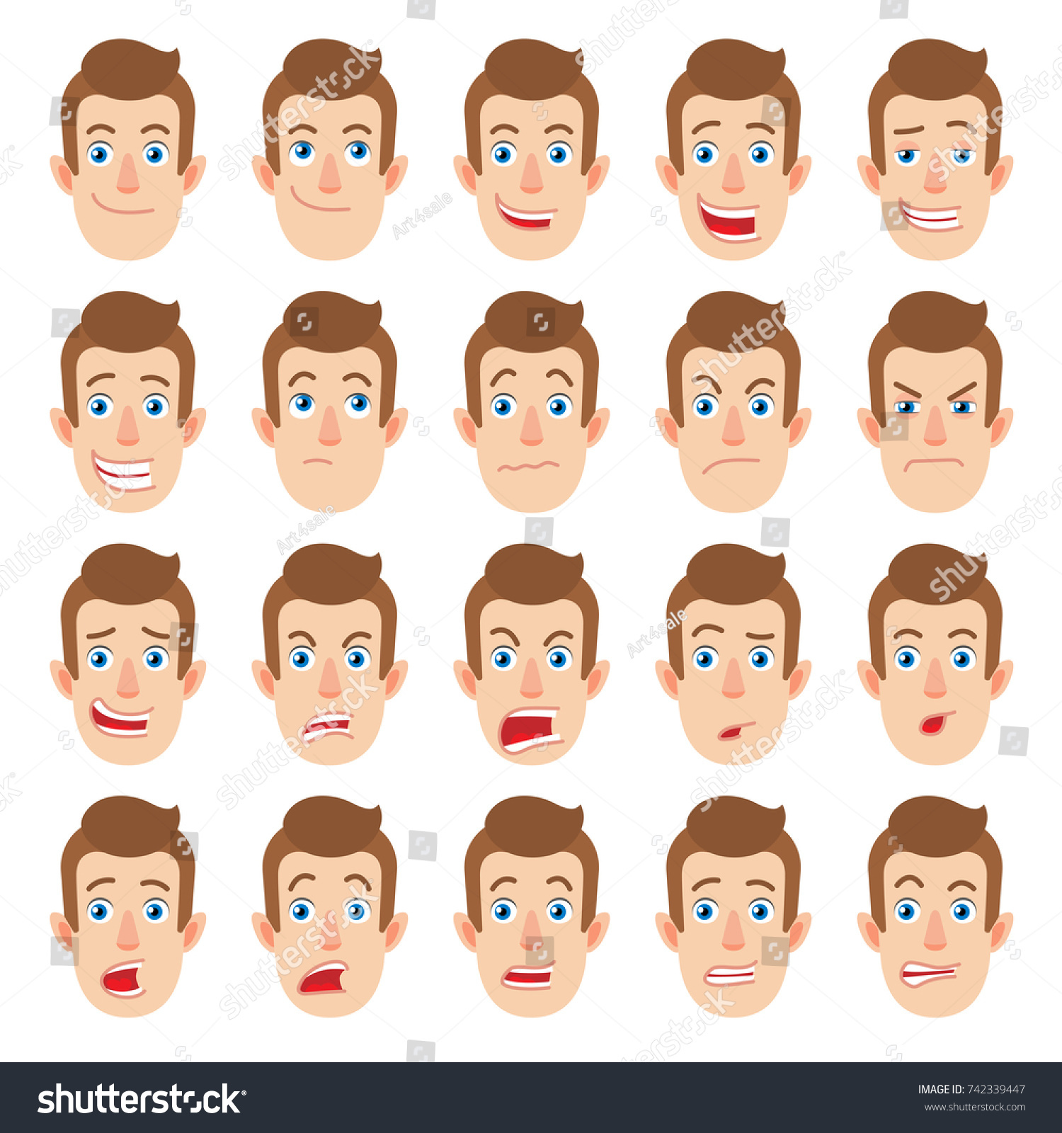 Cartoon Man Different Facial Expressions Emotional Stock Vector Royalty Free 742339447