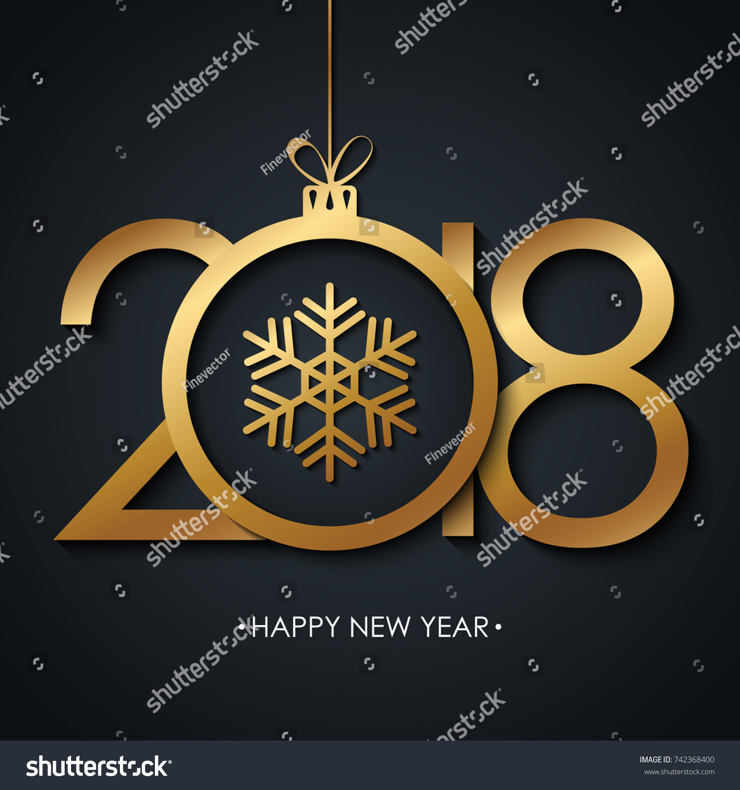 2018 happy new year greeting card stock vector 742368400