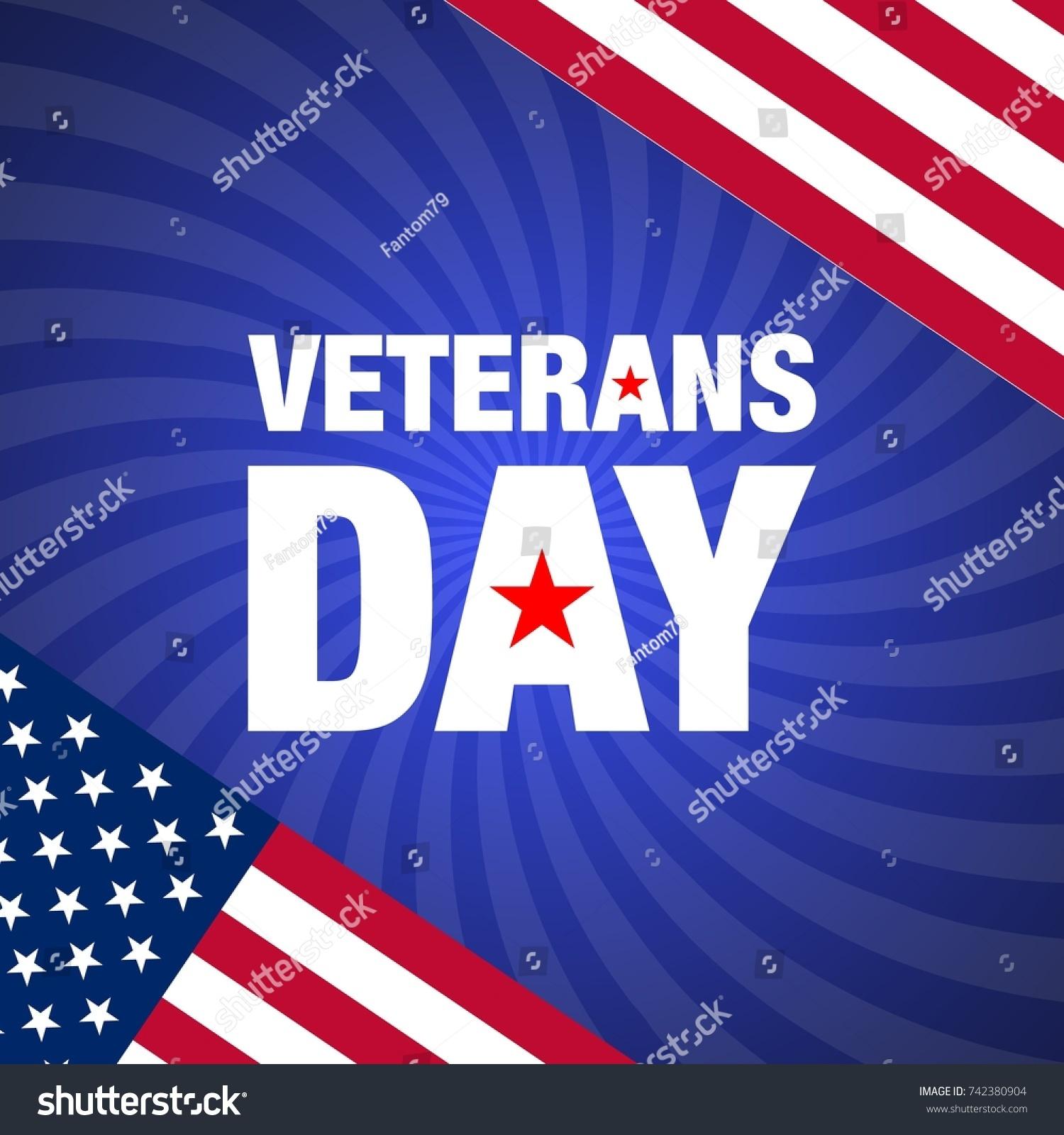 Veterans Day Vector Banner Created Flat Stock Vector 742380904