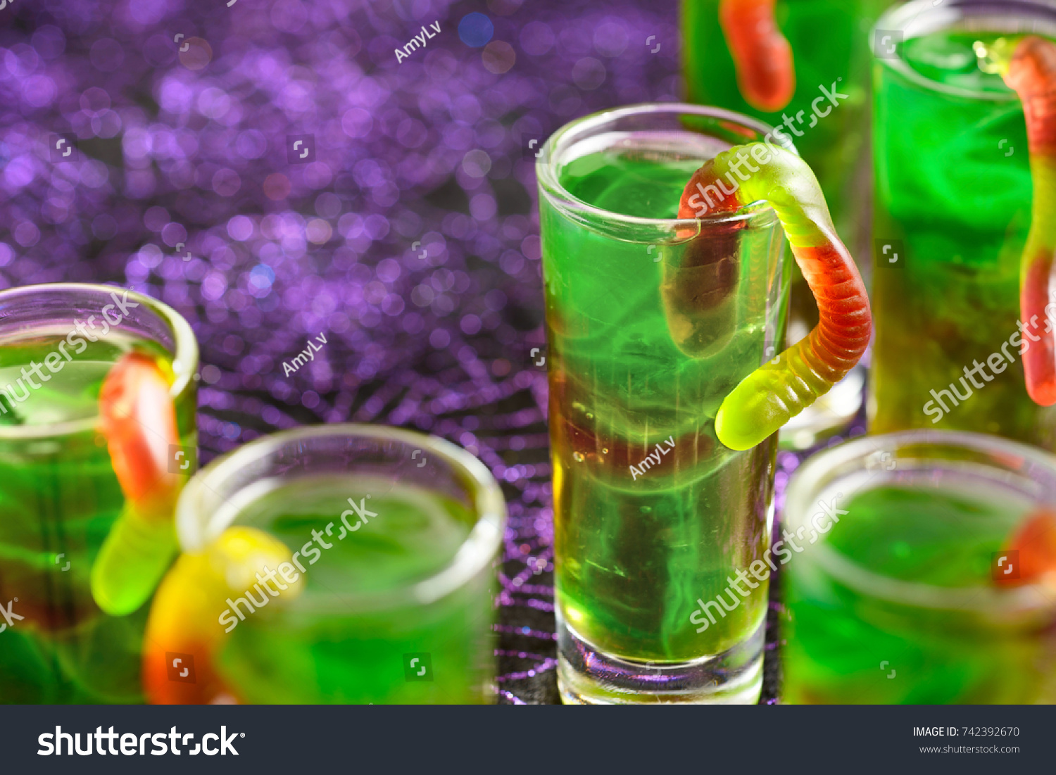 Green Halloween Shots Gummy Worms On Stock Photo 742392670 ...
