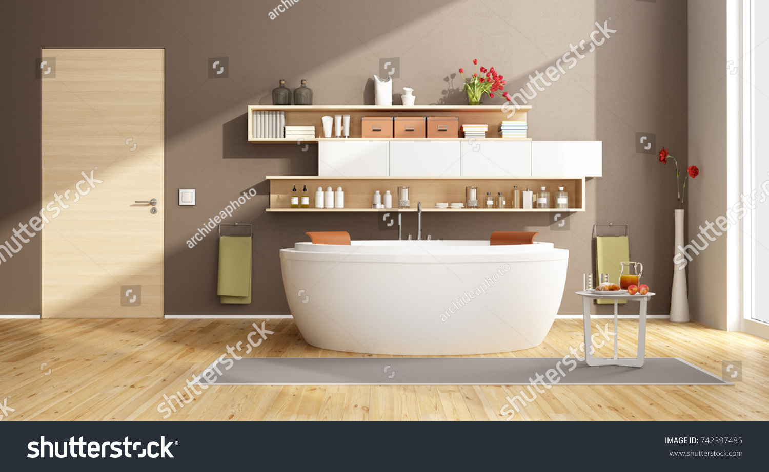 Moder Bathroom Round Bathtub Shelves On Stock Illustration 742397485 ...