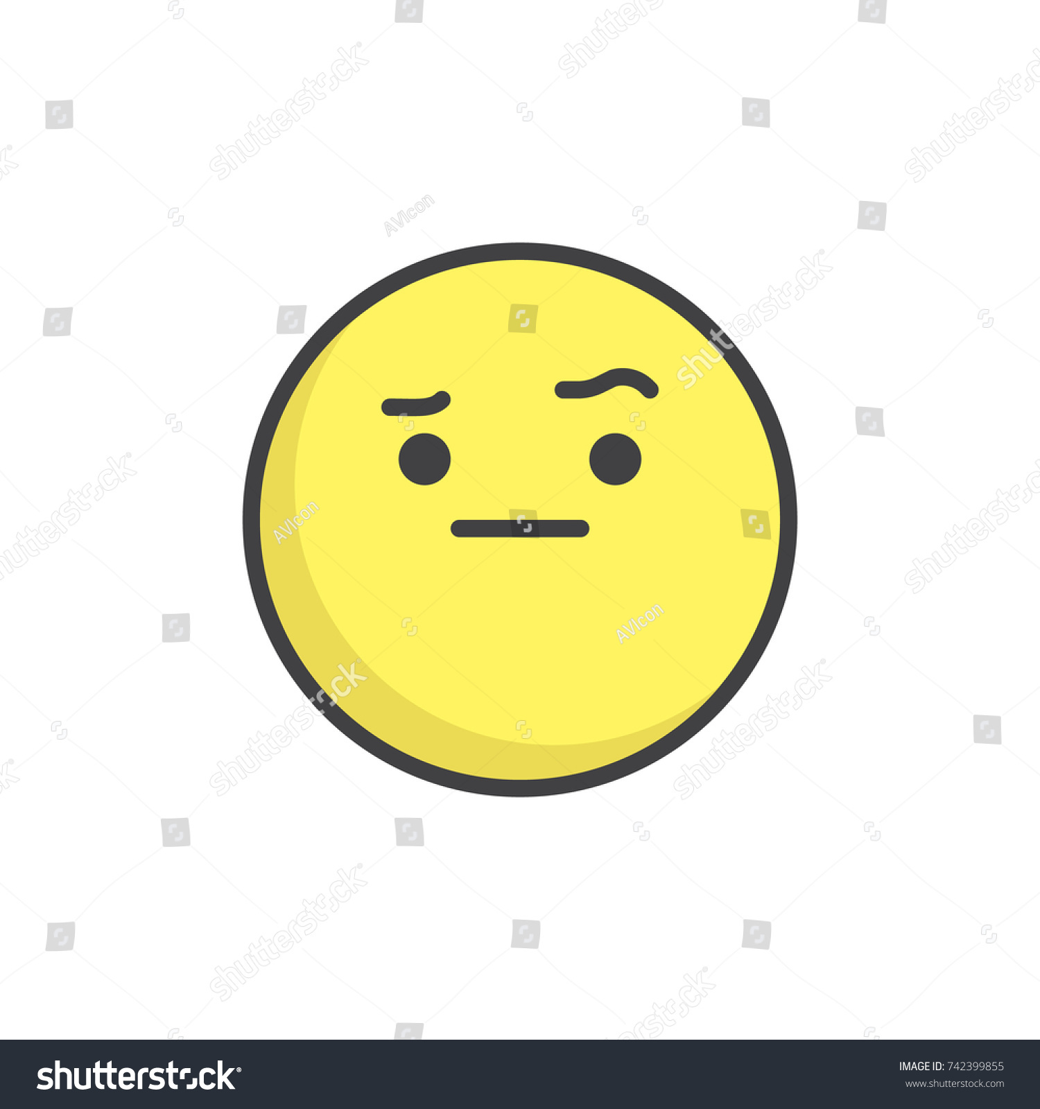 Face Raised Eyebrow Emoticon Filled Outline Stock Vector Royalty