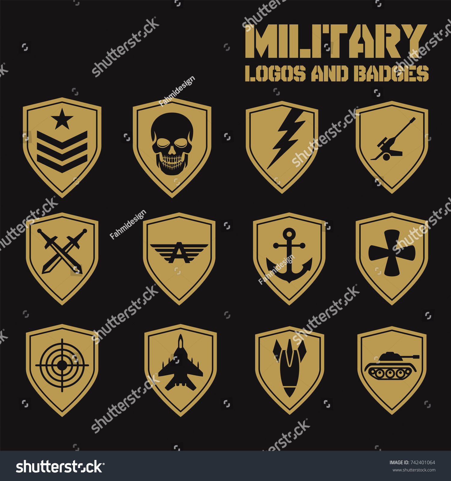 military army like badges white logos stock vector 742401064 shutterstock. Black Bedroom Furniture Sets. Home Design Ideas