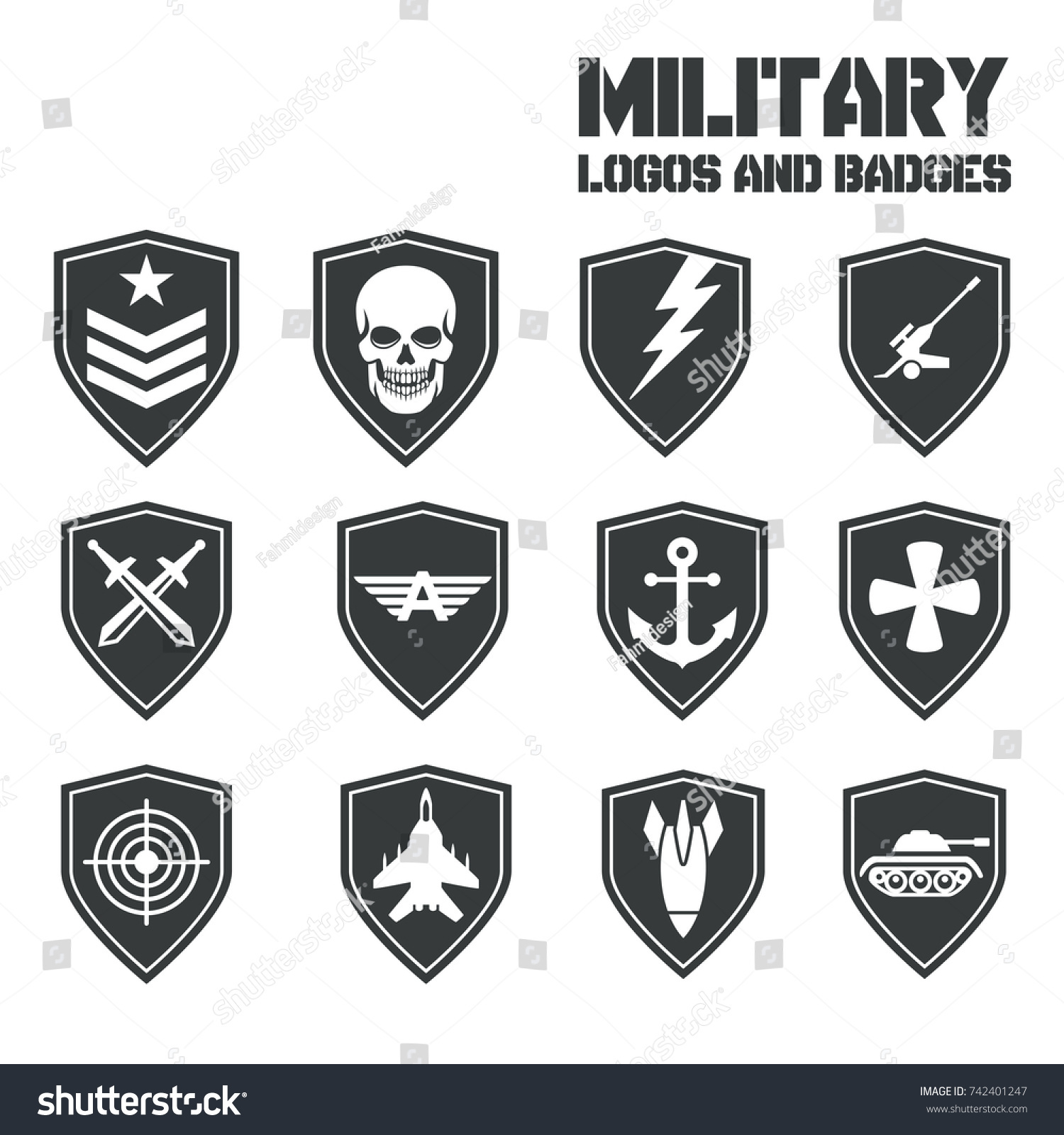 Military Symbol Icons Logos Special Forces Stock Vector 742401247