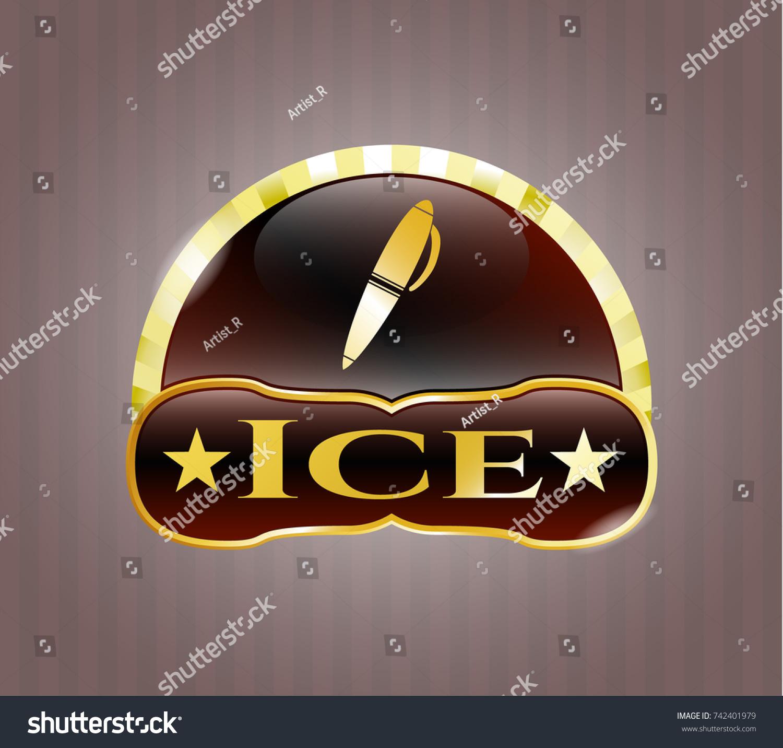 Golden badge pen icon ice text stock vector 742401979 shutterstock golden badge with pen icon and ice text inside biocorpaavc Choice Image
