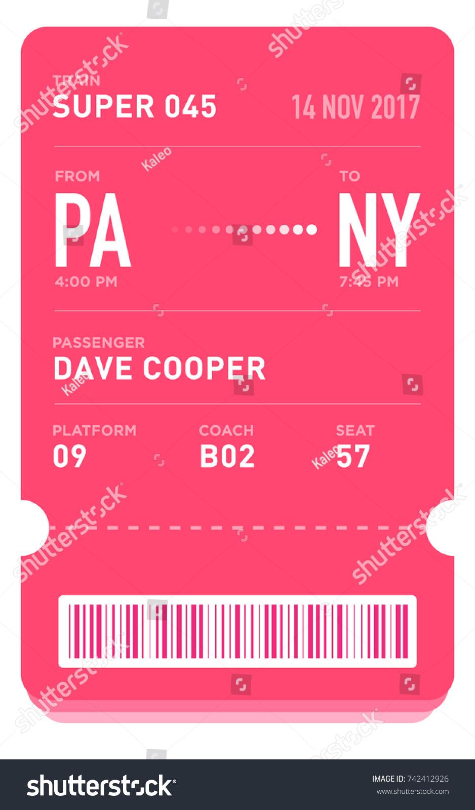 E Ticket Boarding Pass Card Template Bar Stock Vector Royalty Free