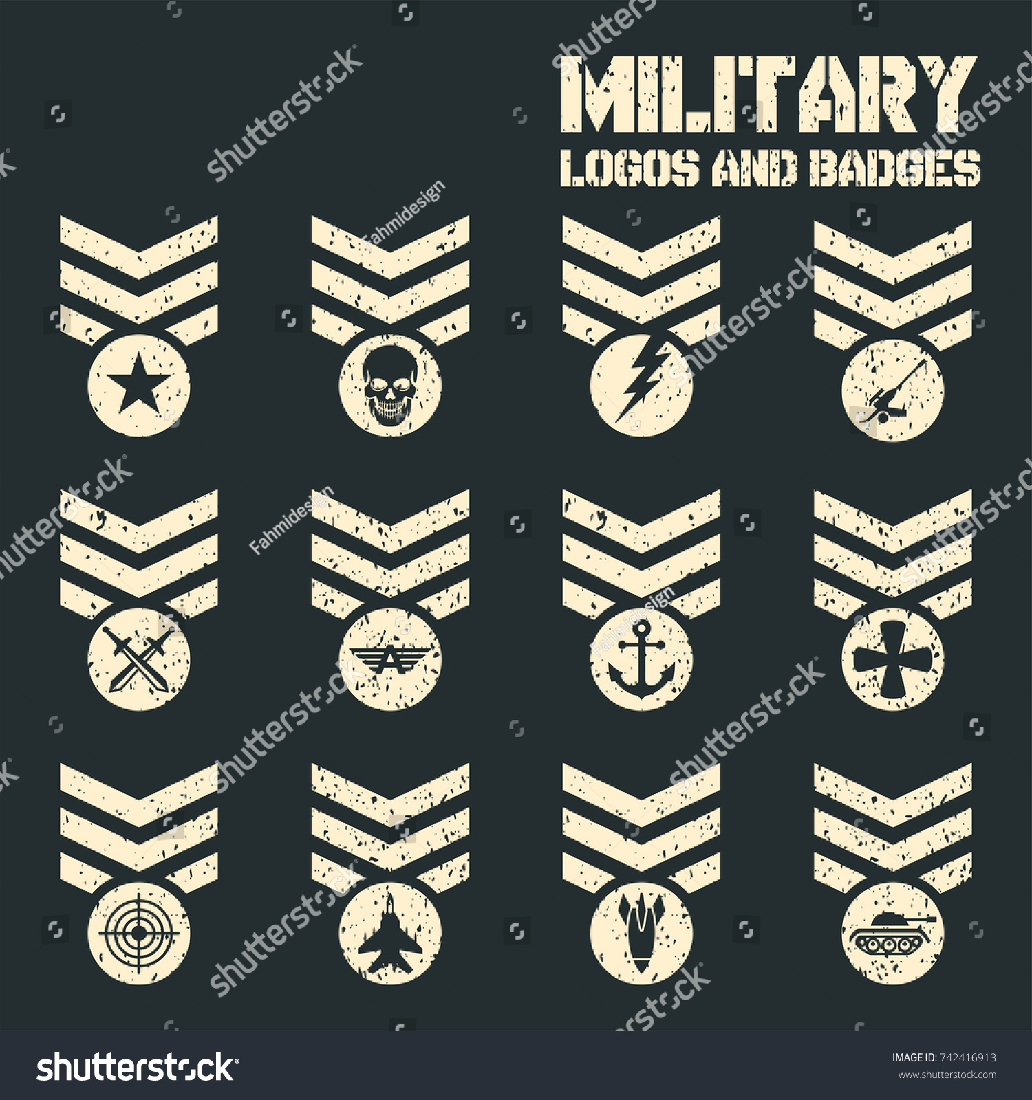set military army patches badges vector stock vector royalty free