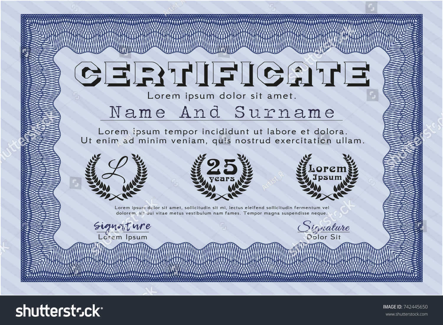 Blue Certificate Template Elegant Design With Complex Background