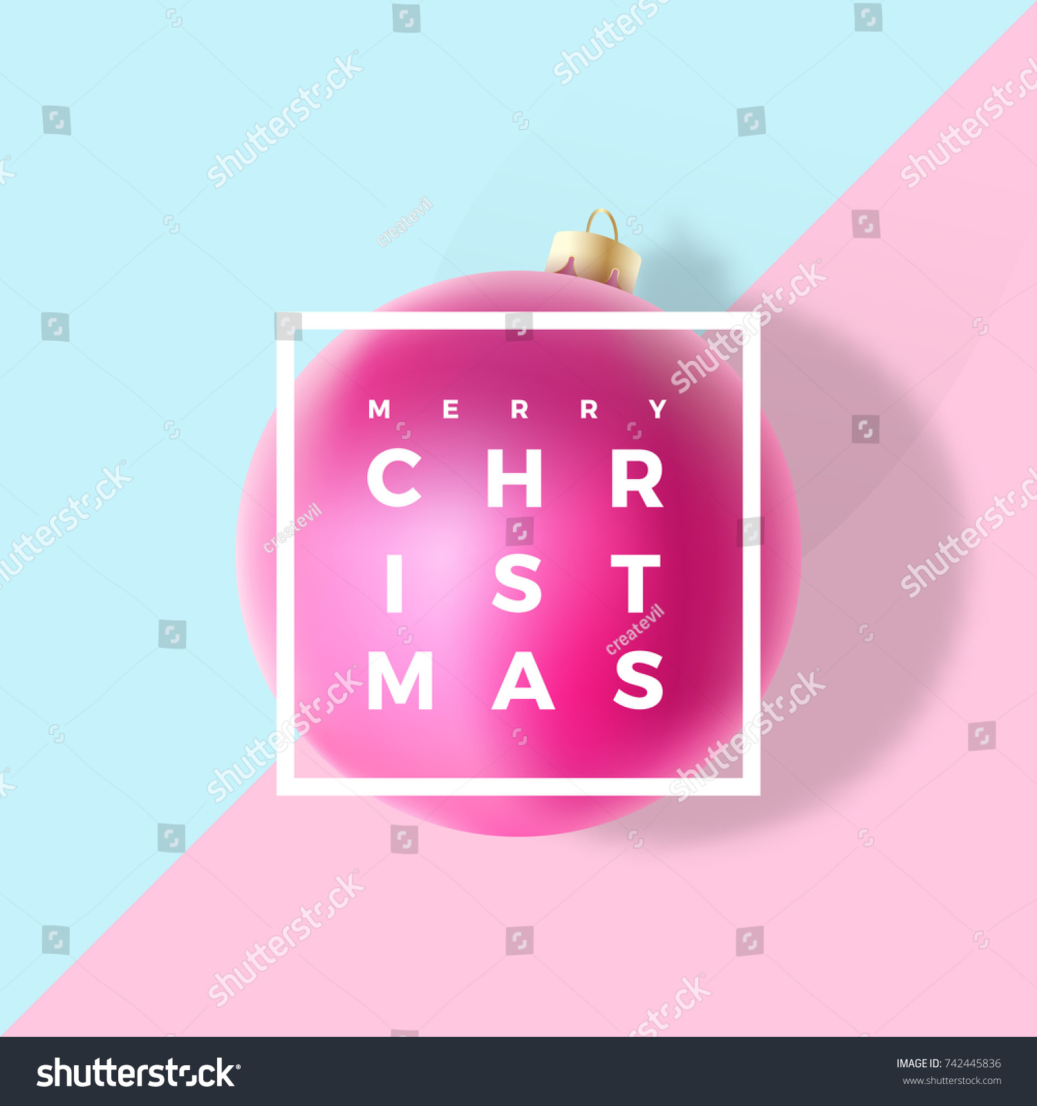 Pastel Colors Gentle Christmas Greeting Card Stock Vector 742445836 ...