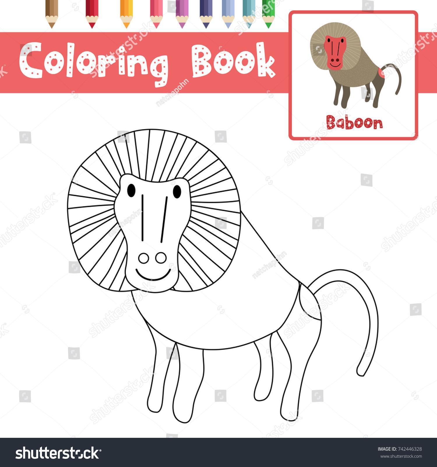 Coloring Page Baboon Animals Preschool Kids Stock Vector (Royalty ...