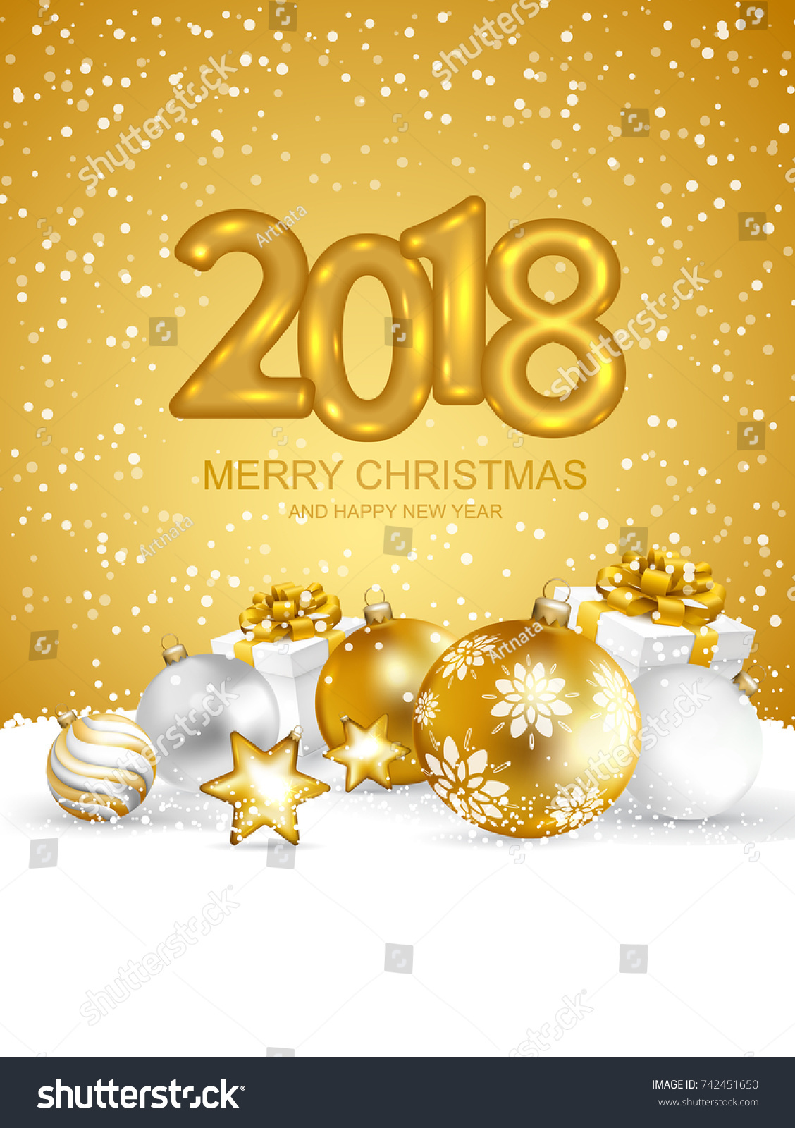 2018 merry christmas and happy new year card with christmas balls and gift boxes on snow