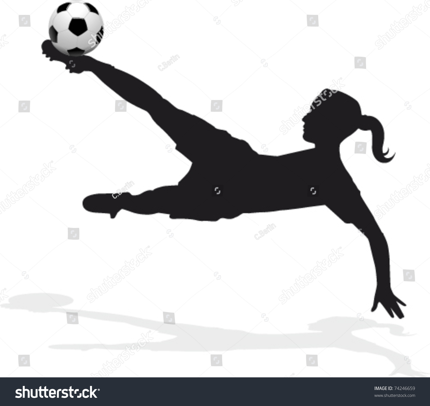 Womens Soccer Player Bicycle Kick Stock Vector 74246659 ...