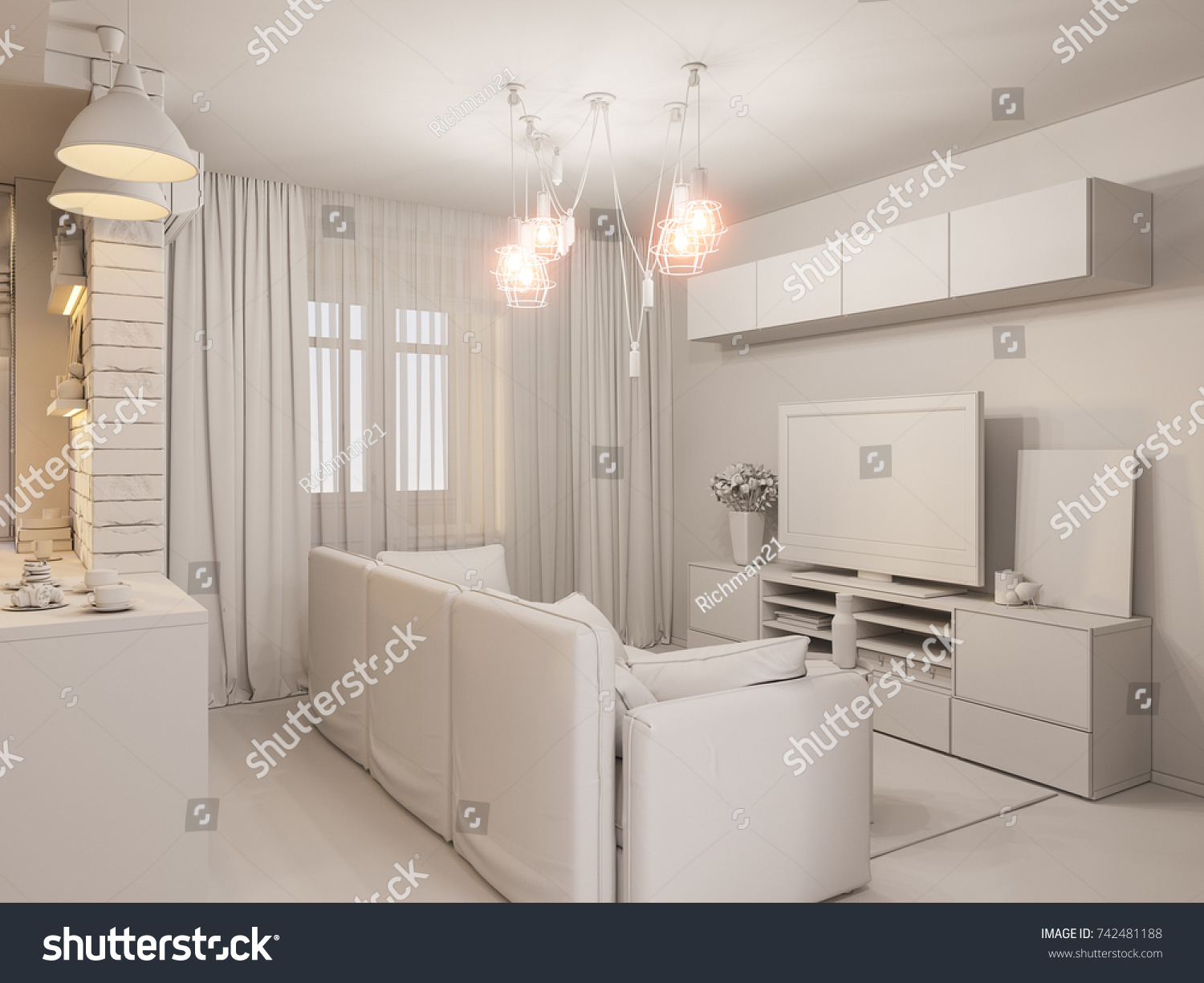 3d Illustration Living Room And Kitchen Interior Design Modern