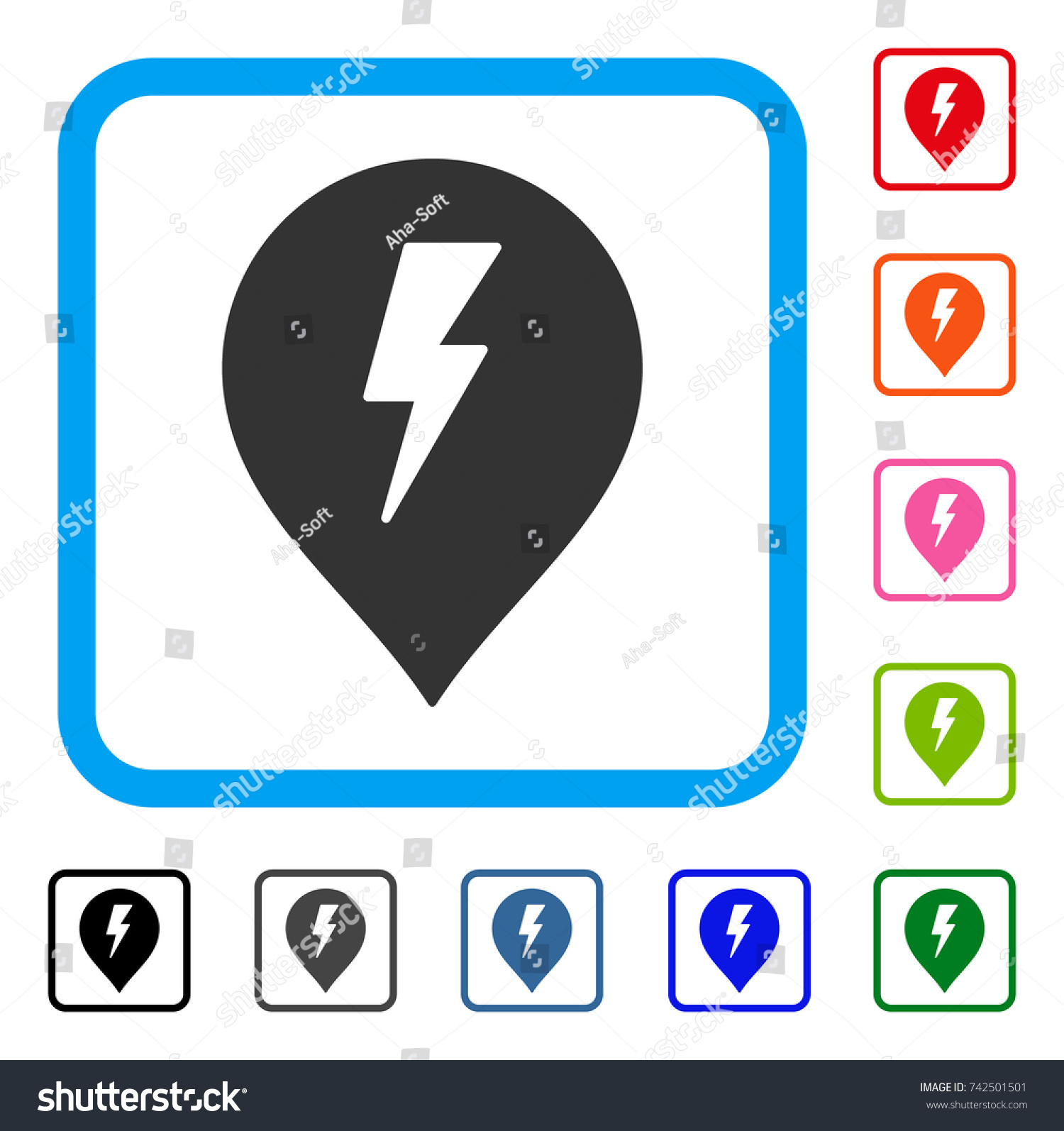 Electric Shock Marker Icon Flat Gray Stock Vector 742501501 ...