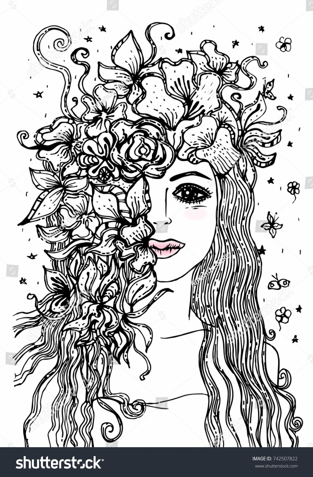 hand drawn portrait floral wreath stock vector 742507822