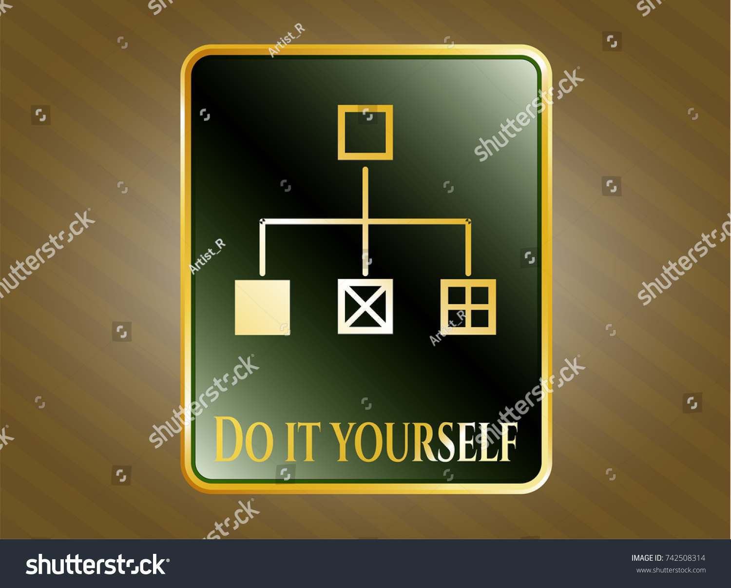 Gold emblem badge flowchart icon do stock vector 2018 742508314 gold emblem or badge with flowchart icon and do it yourself text inside solutioingenieria Image collections