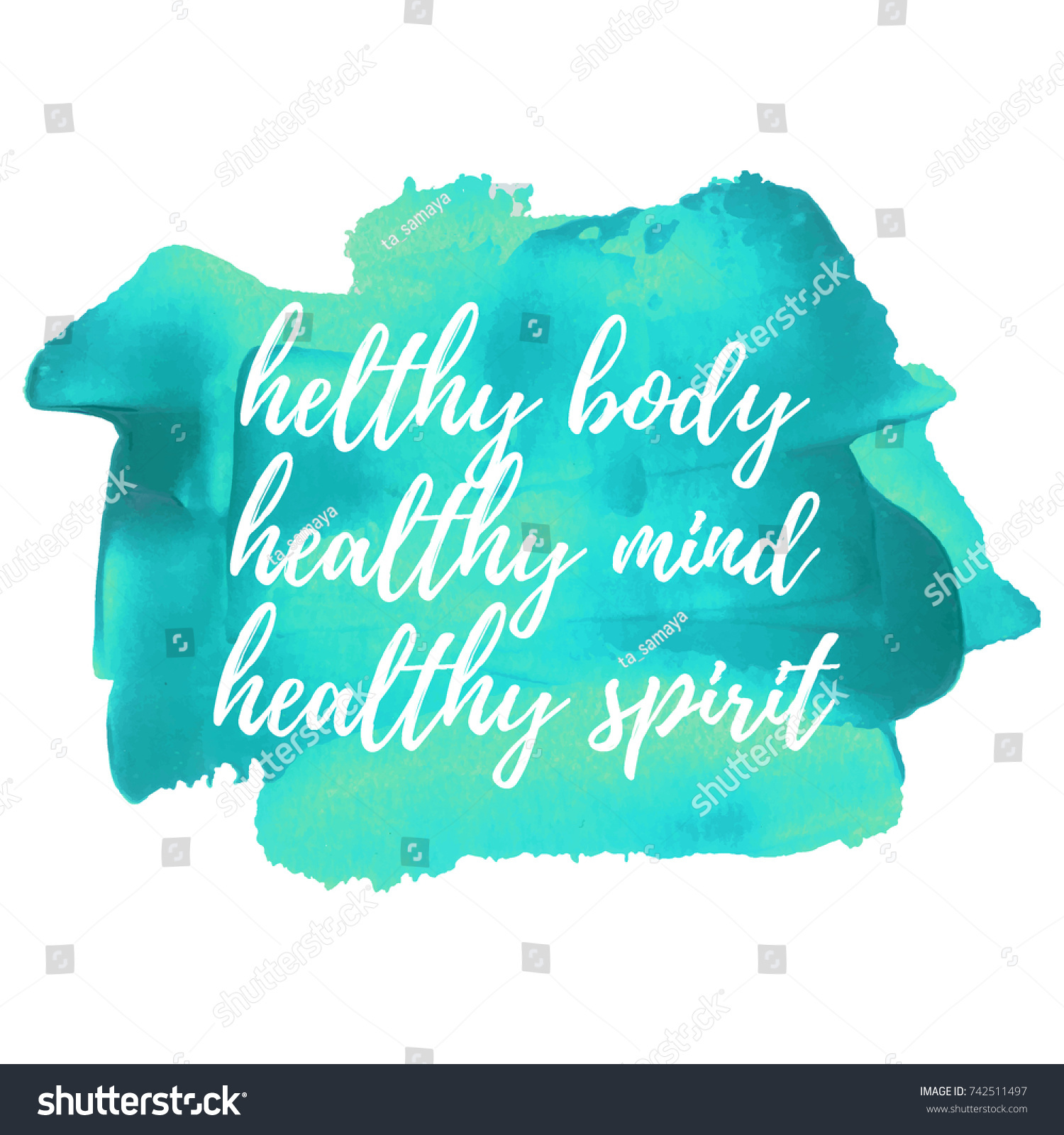 Inspirational Quote Hand Written Healthy Body Stockvector