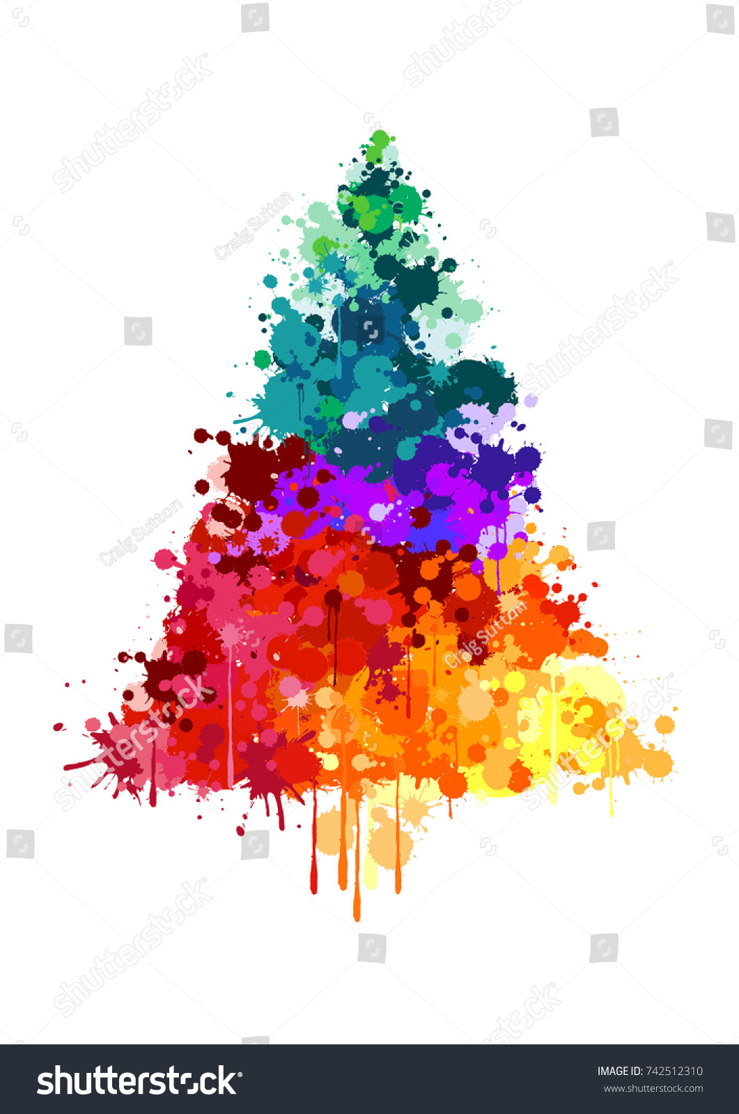 paint splatter christmas tree - How To Paint A Christmas Tree