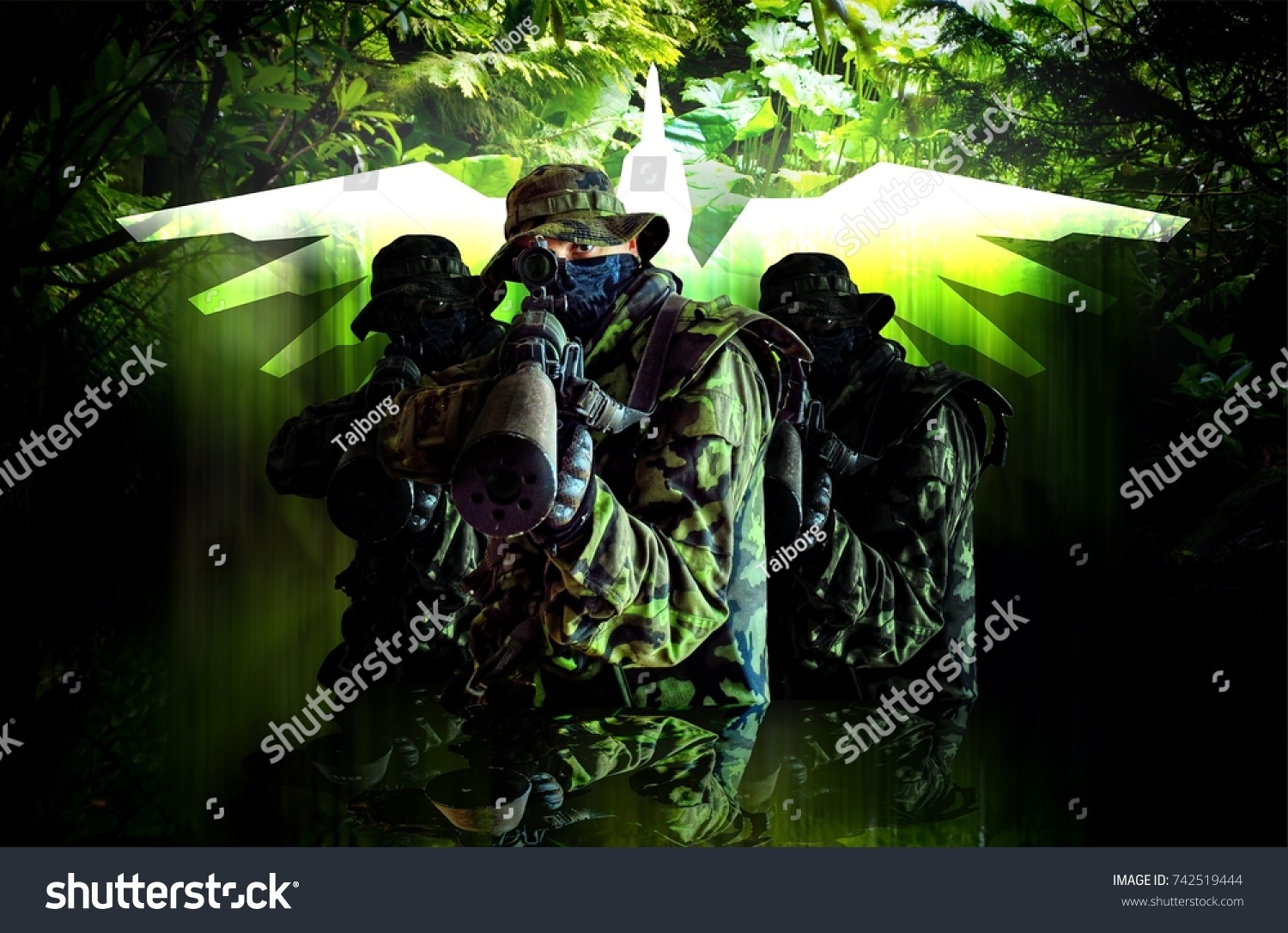 Airsoft banner 3 soldiers camouflage czech stock photo 742519444 airsoft banner 3 soldiers in camouflage czech vz95 military focus suitable biocorpaavc Image collections