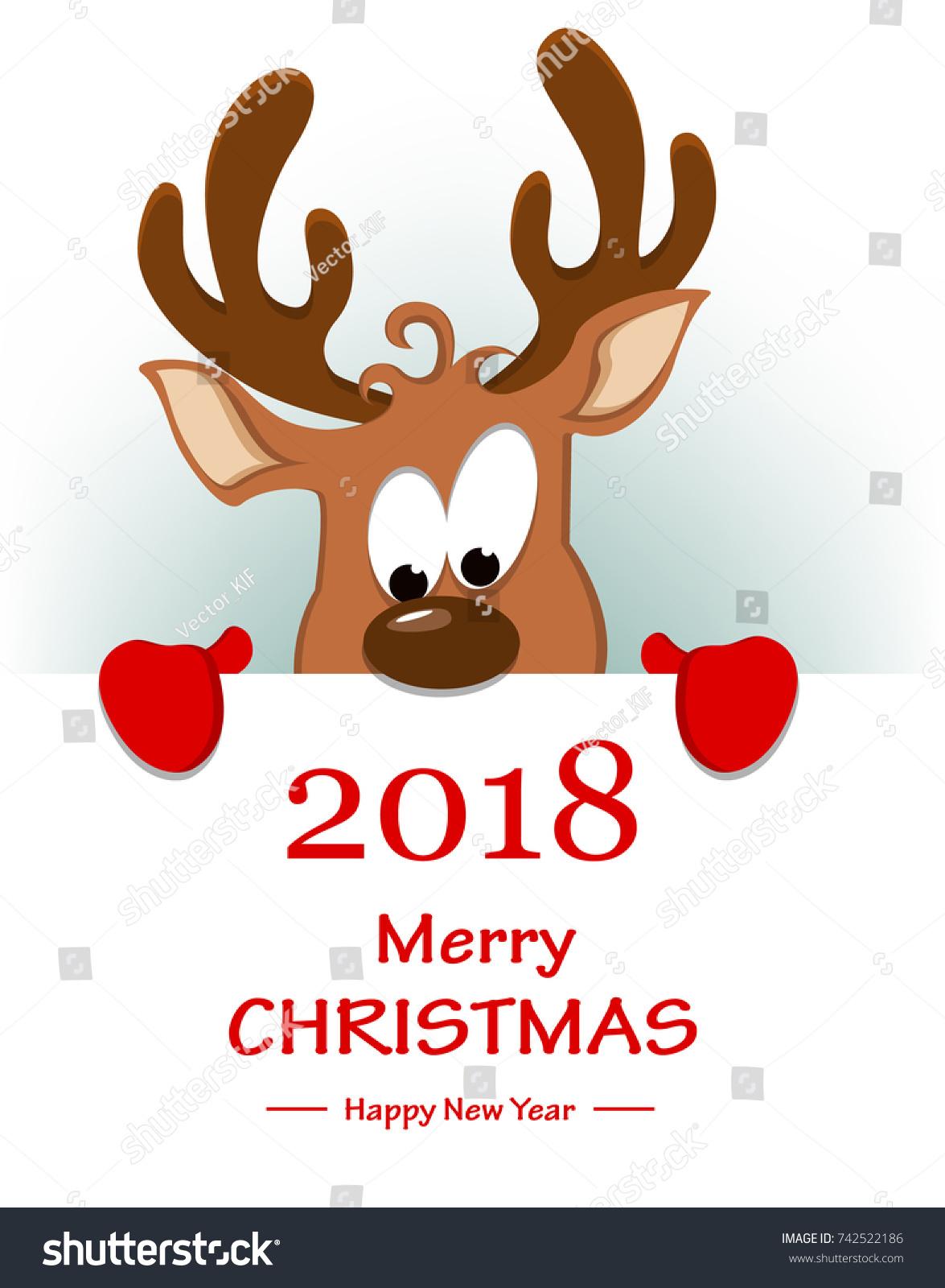 Merry christmas greeting card funny reindeer stock vector 742522186 merry christmas greeting card funny reindeer stock vector 742522186 shutterstock m4hsunfo