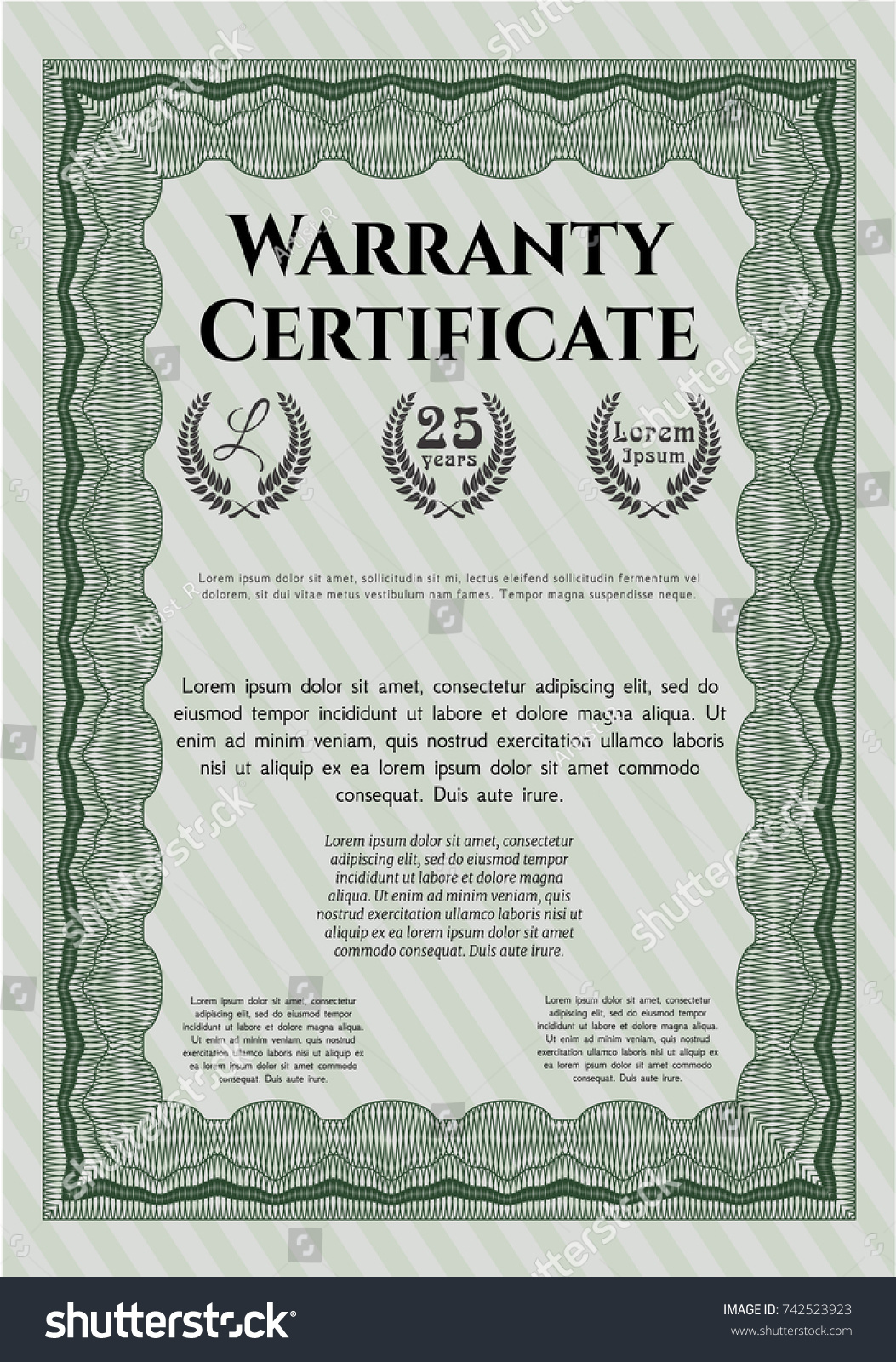 Green warranty certificate template customizable easy stock vector green warranty certificate template customizable easy to edit and change colors with linear 1betcityfo Choice Image