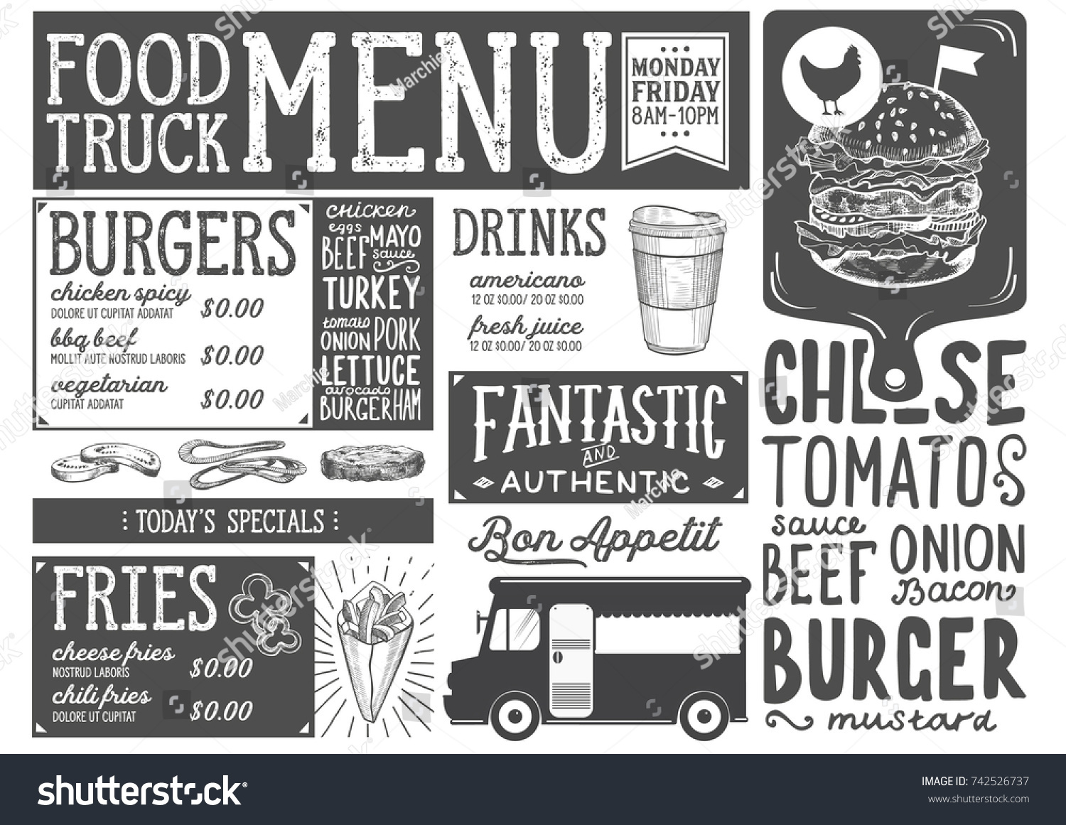Food Truck Menu For Street Festival Design Template With Hand Drawn Graphic Illustrations