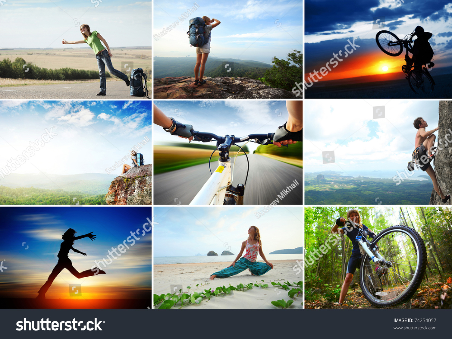 collage sport travel theme hiking cycling stock photo 74254057