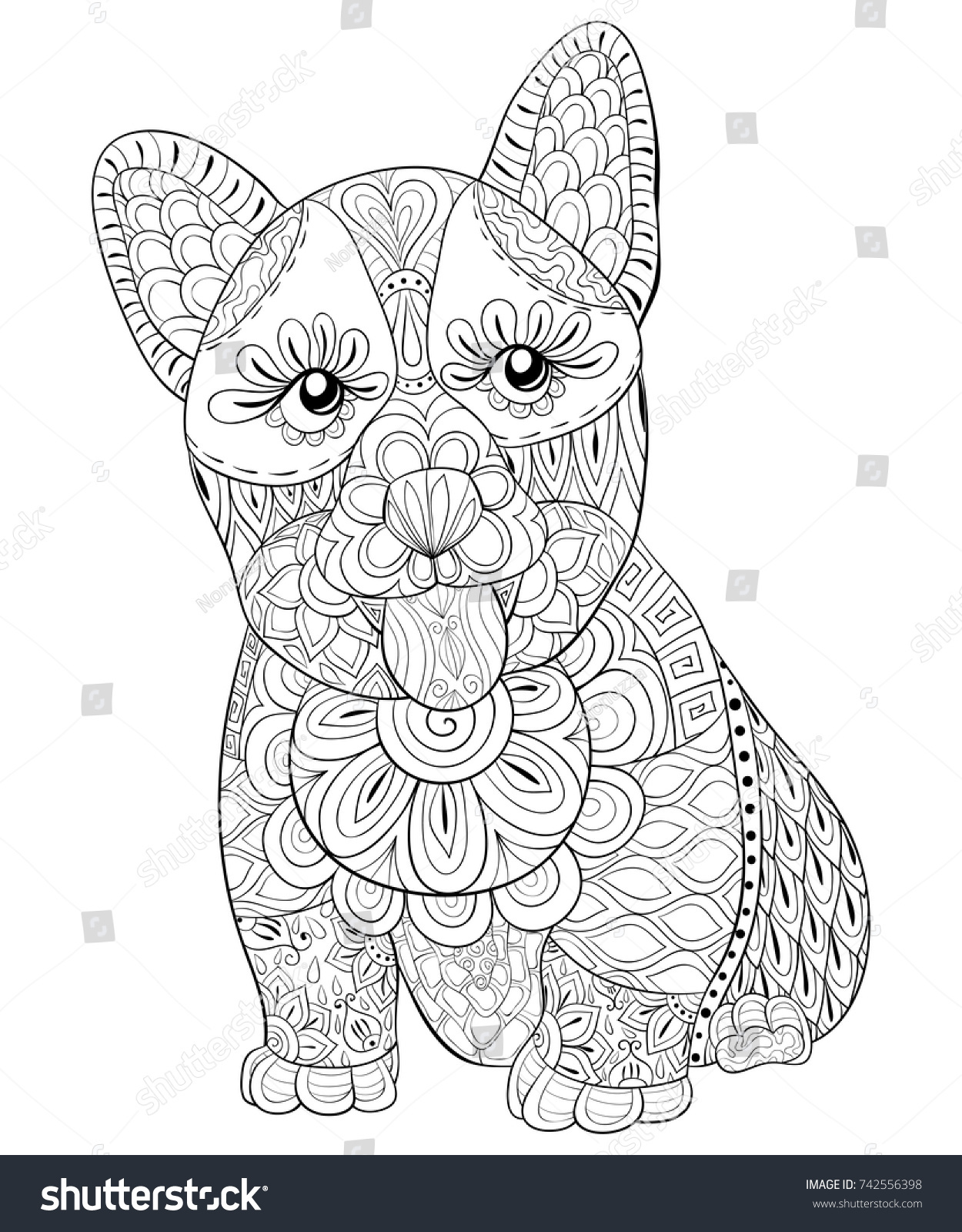 Adult Coloring Pagebook A Cute Little DogZen Art Style Illustration