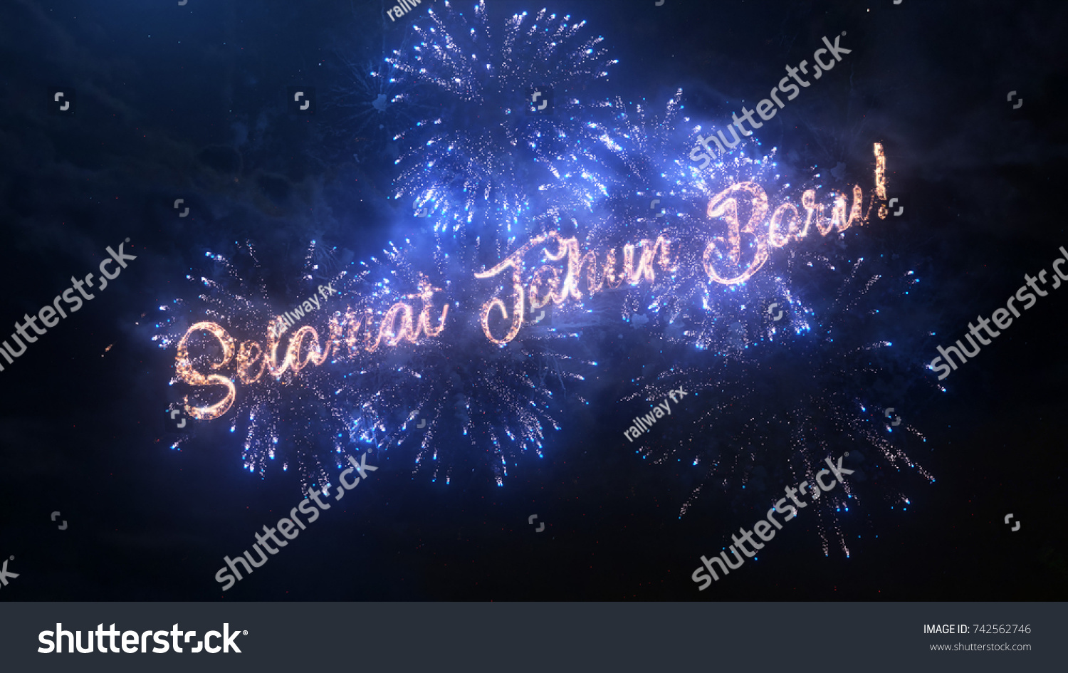 Happy New Year Greeting Text Indonesian Stock Photo Edit Now