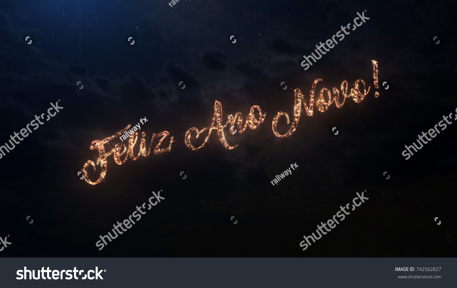 Happy New Year Greeting Text In Portugal With Particles And Sparks