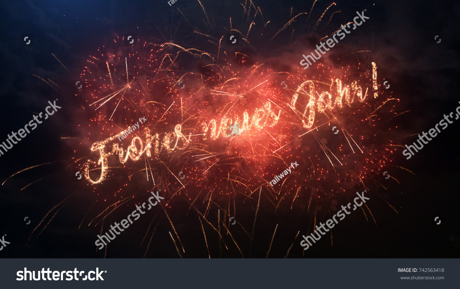 Happy New Year Greeting Text German Stock Photo Safe To Use