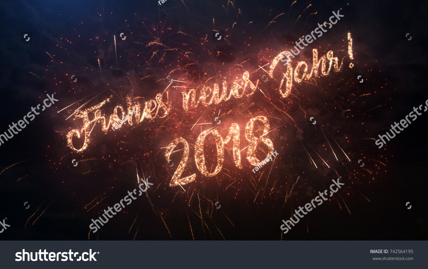 2018 Happy New Year Greeting Text In German With Particles And