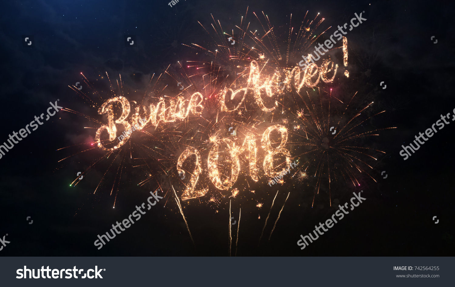 2018 happy new year greeting text in french with particles and sparks on black night sky