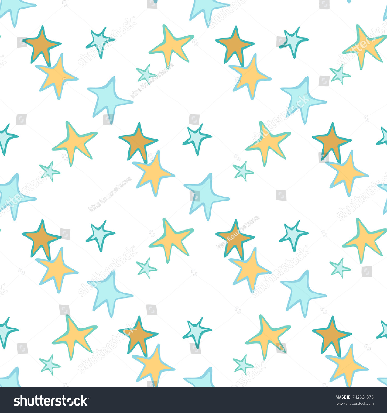 Simple Baby Seamless Pattern With Hand Drawn Stars And Children Room Wallpaper Design
