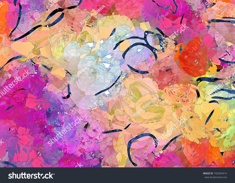 Painted on canvas watercolor artwork digital hand drawn art modern