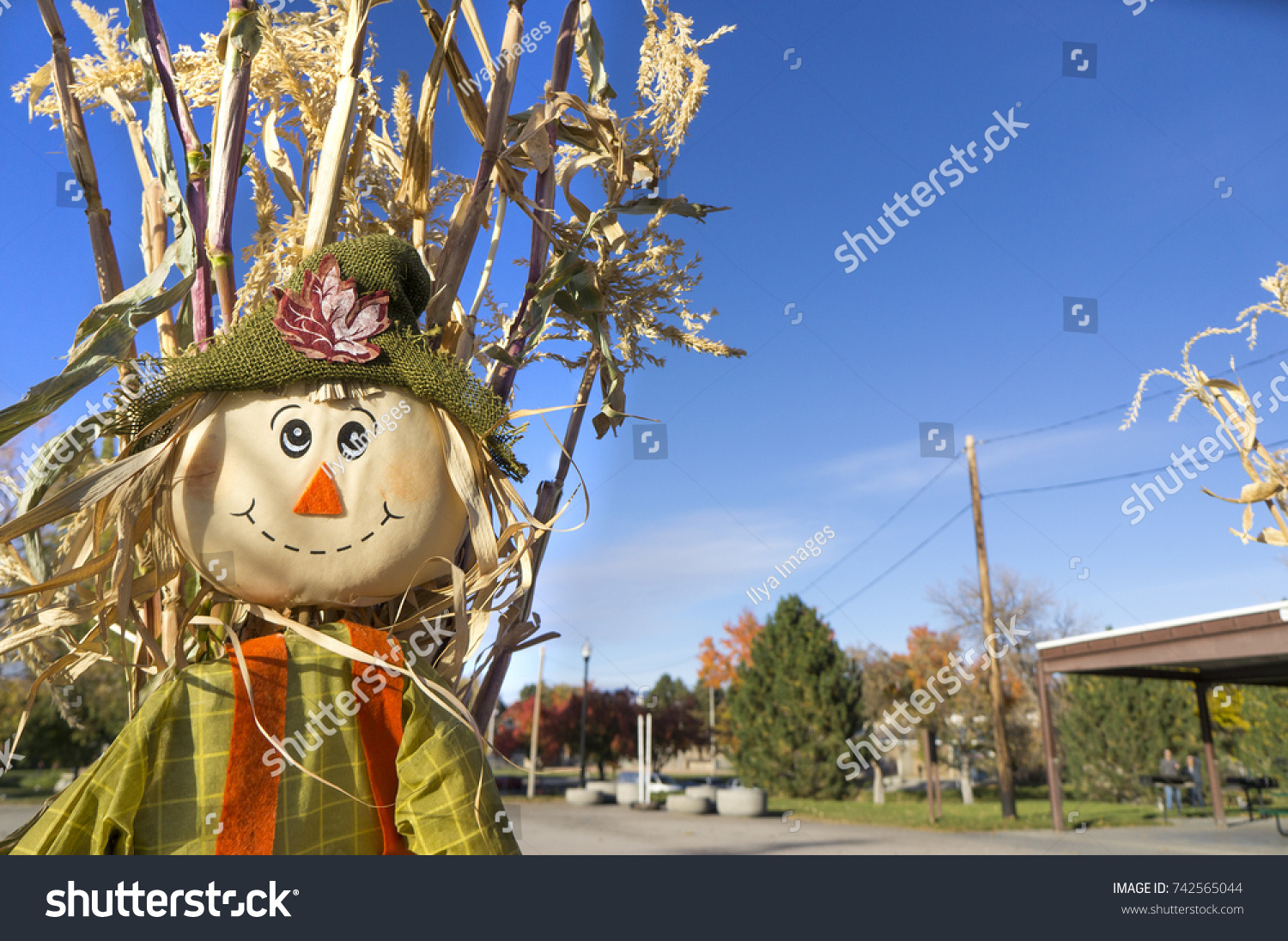 Scarecrow Corn Stalk Fall Decoration Against Stock Photo Edit Now