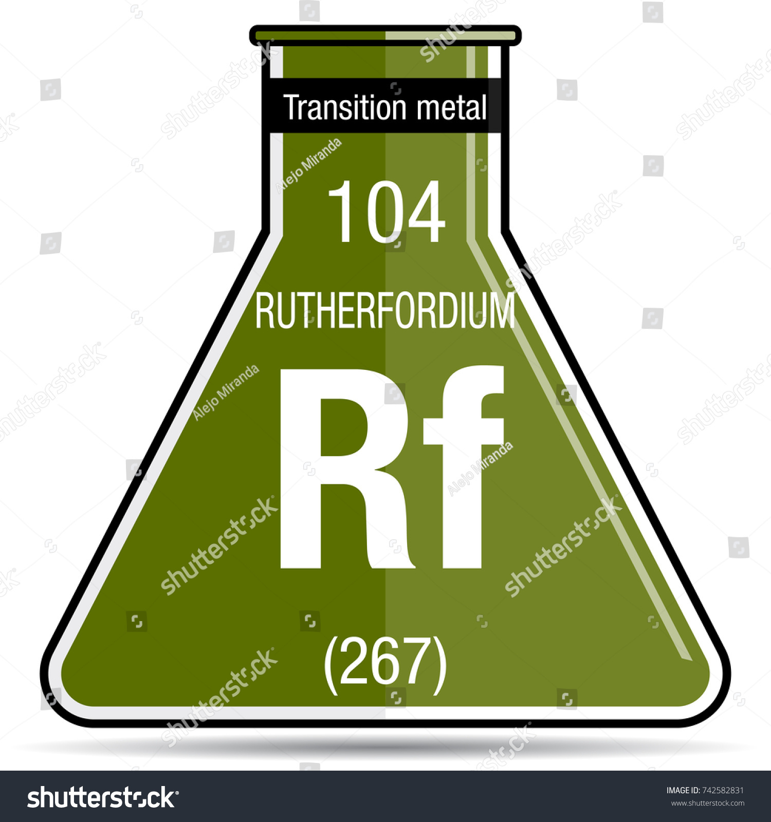 Rutherfordium Symbol On Chemical Flask Element Stock Vector Royalty