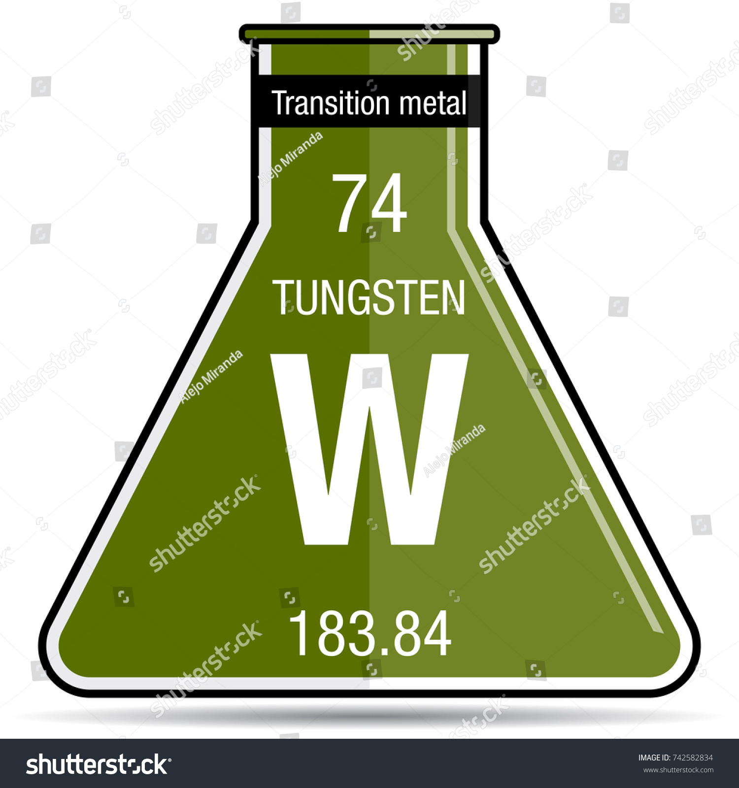 Tungsten Symbol On Chemical Flask Element Stock Vector Royalty Free