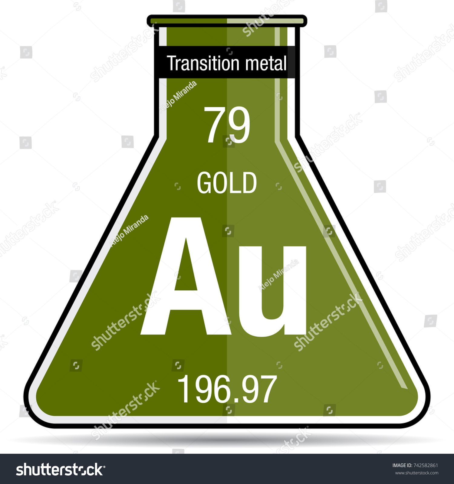 Gold symbol on chemical flask element stock vector 742582861 gold symbol on chemical flask element number 79 of the periodic table of the elements gamestrikefo Image collections