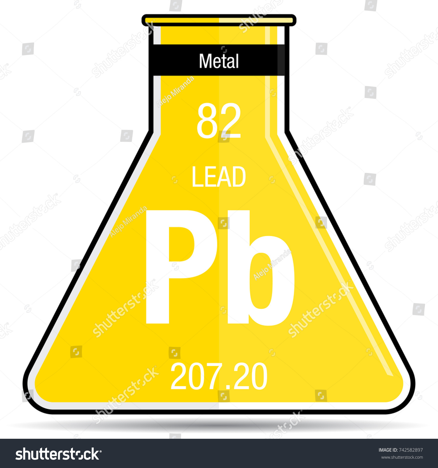Lead Symbol On Chemical Flask Element Stock Vector Royalty Free