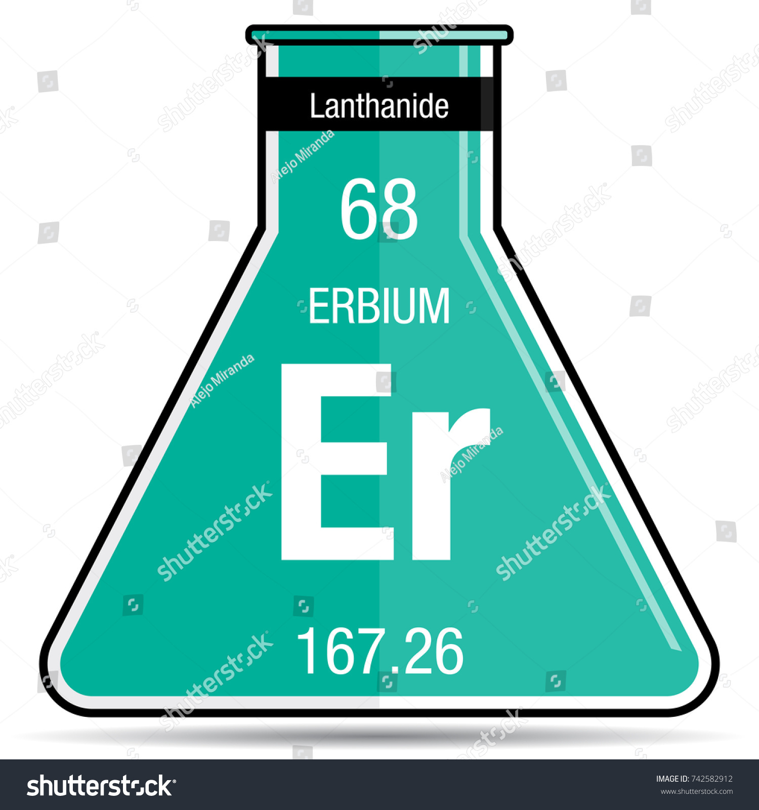 Erbium Symbol On Chemical Flask Element Stock Vector Royalty Free