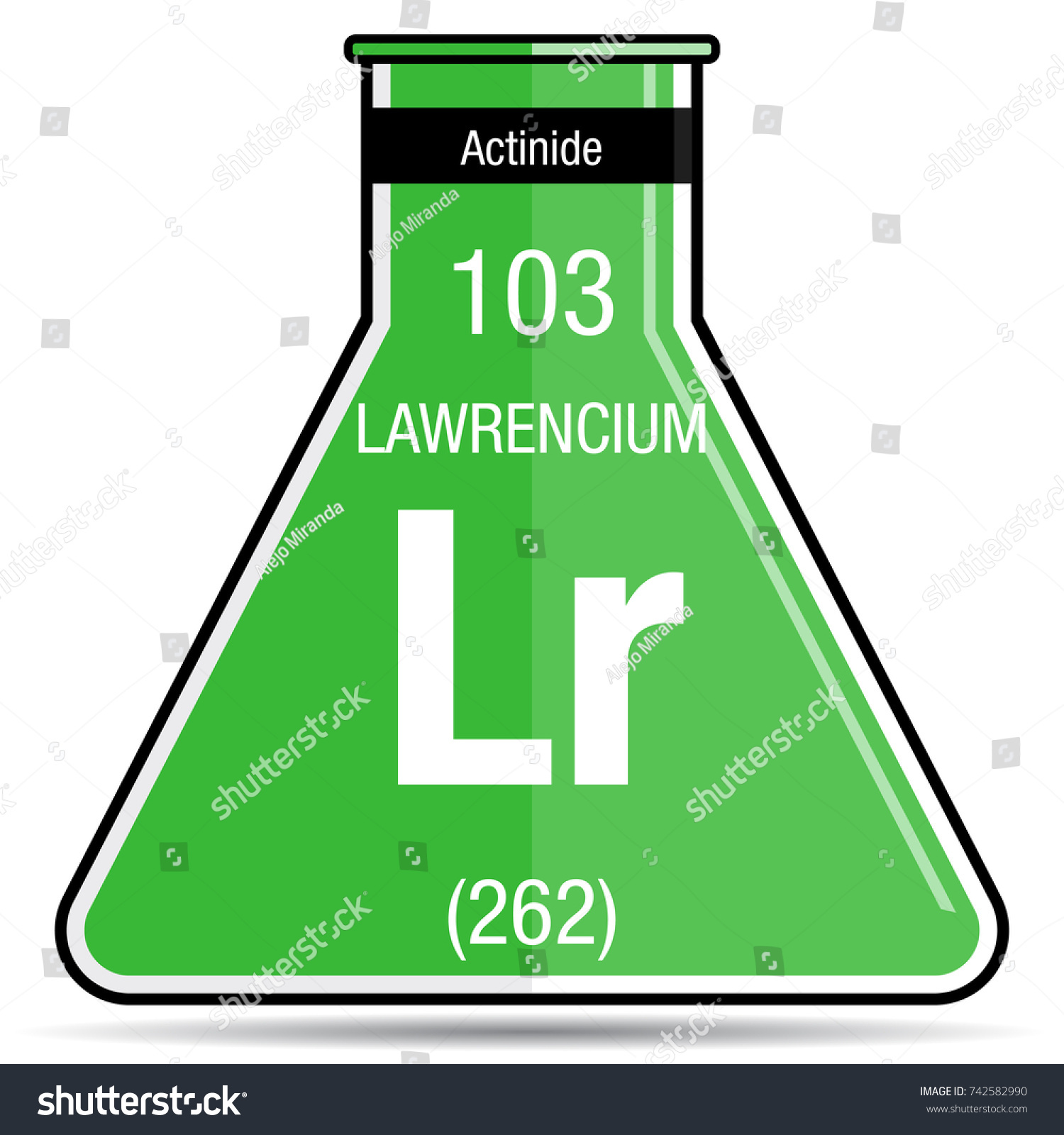 Lawrencium Symbol On Chemical Flask Element Stock Vector ...