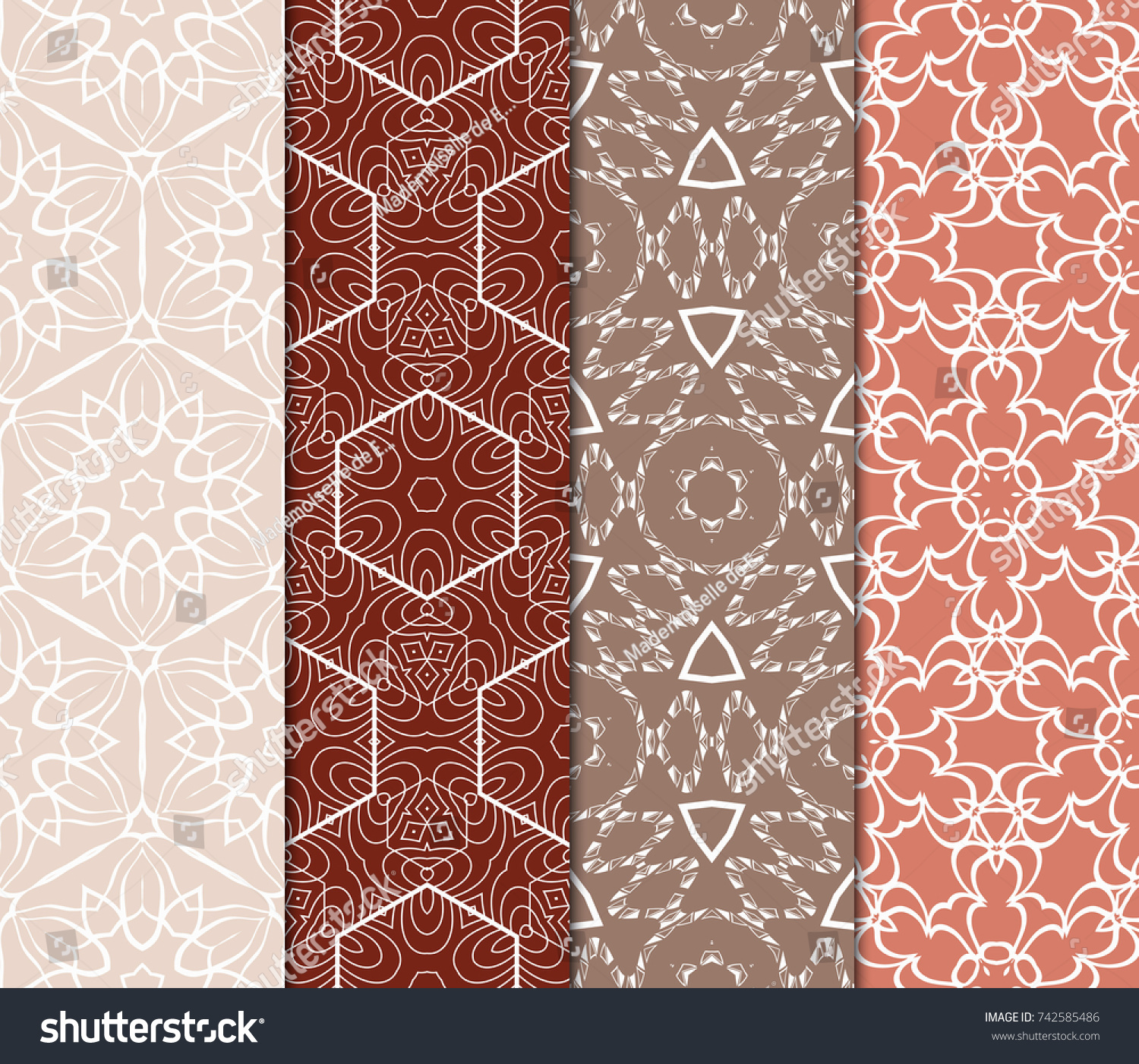 Set Seamless Floral Pattern Geometric Texture Stock Vector Royalty