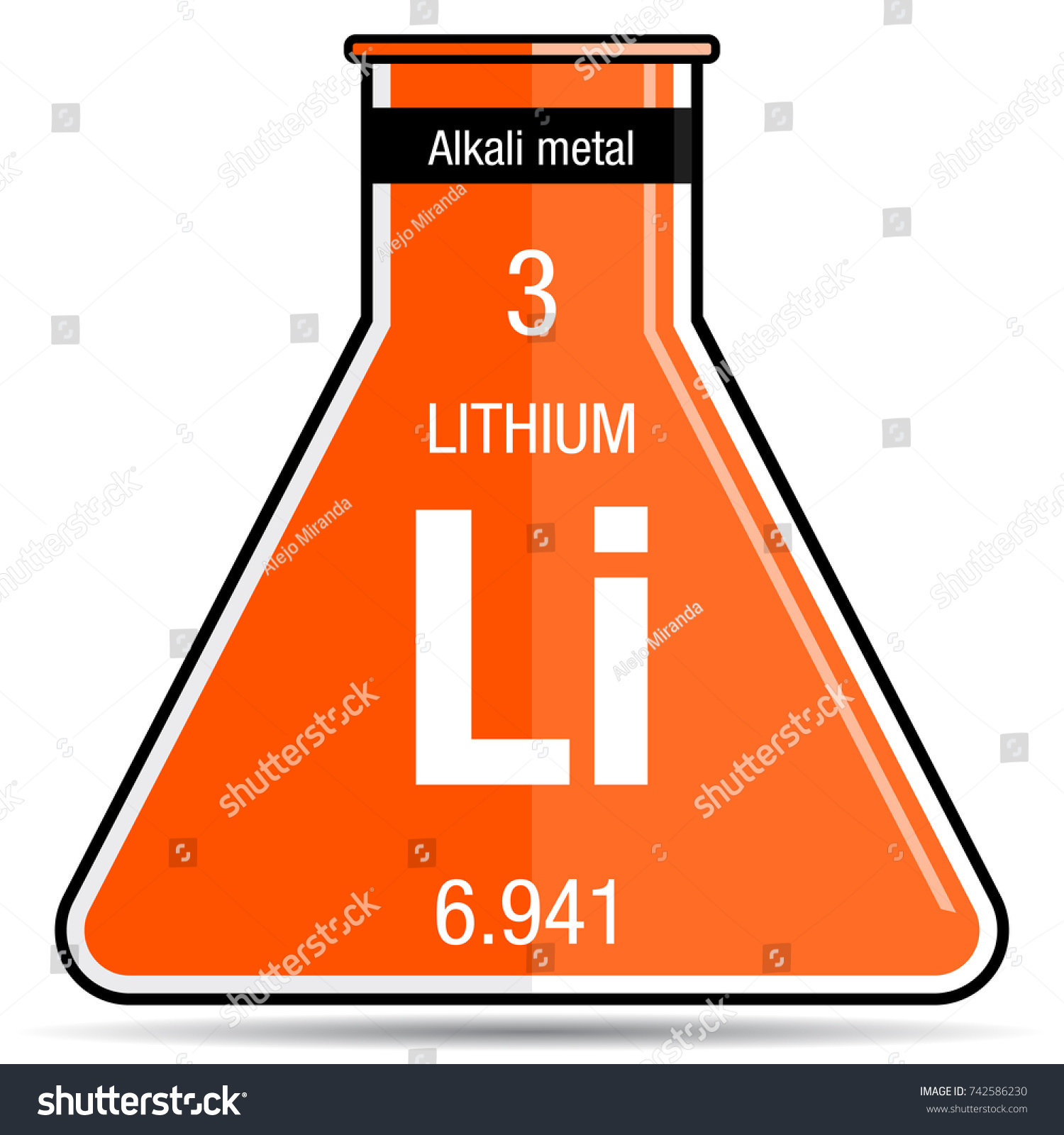 Lithium symbol on chemical flask element stock vector 742586230 lithium symbol on chemical flask element number 3 of the periodic table of the elements gamestrikefo Image collections